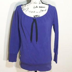 Lole Gina Purple Active Sweatshirt Pull Tie Neck M